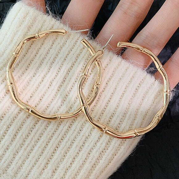 Jewelry - Bamboo Gold Hoops 925 Sterling Silver Earrings